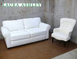 【LAURA ASHLEY】ローラ アシュレイ 2Pソファ ホワイト パーソナルチェア ファブリック 展示品 出張買取 東京都世田谷区