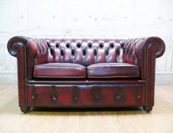 【英国製 Chesterfield Sofa】イギリス製 チェスターフィールド 総革 2Pソファ 出張買取 東京都渋谷区
